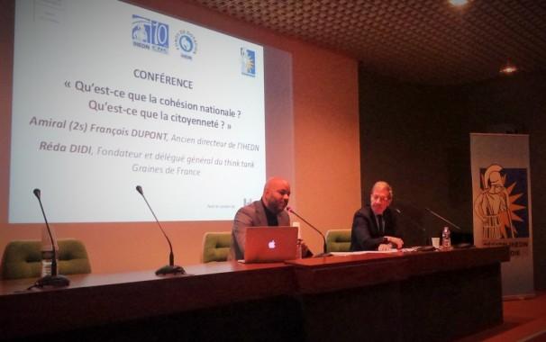 Réda Didi, Fondateur et délégué général du think tank Graines de France et auditeur de ce séminaire en 2008, et l'Amiral François Dupont, Ancien directeur de l'IHEDN