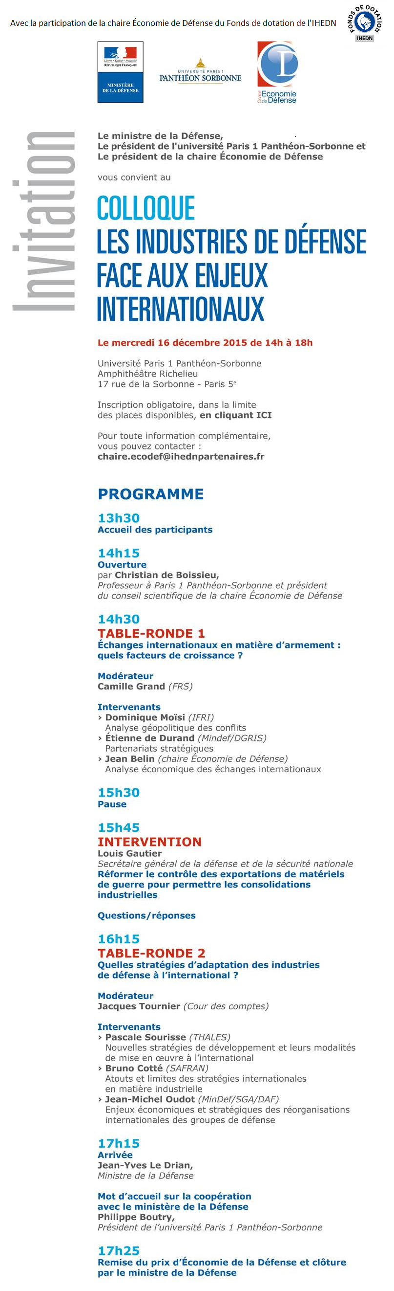 INVITATION - chaire Economie de Défense - colloque Industries de défense